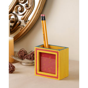 Ethnic Yellow Photo Pen Stand