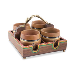 Dhokra Work Multipurpose Wooden Tray