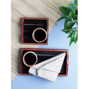 Warli Side Painted Wooden Tray Set of Two
