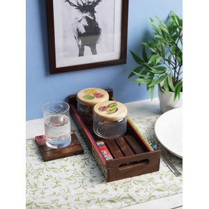 Warli Painted Sheesham Wood Tray with jars and coasters
