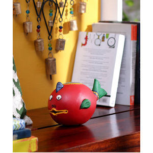 Red Terracotta Fish Coin Bank
