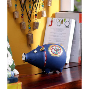 Handcrafted Terracotta Blue Coin Bank