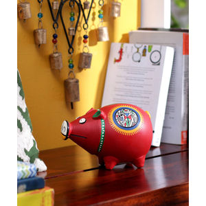 Handcrafted Terracotta Red Coin Bank