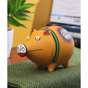 Handcrafted Terracotta Yellow Coin Bank