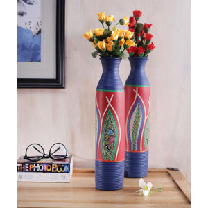 Blue Madhubani Terracotta Vases Set