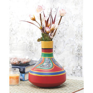 Hand Painted Red Warli Vase