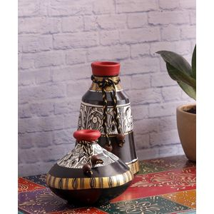 Madhubani Black Terracotta Pots Set of Two