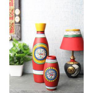 Red Warli Terracotta Vases Set