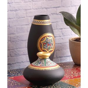Black Warli Terracotta Pots Set of Two