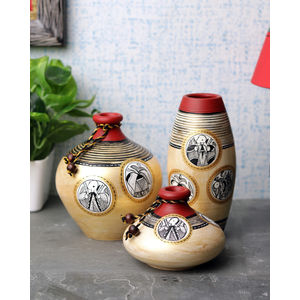 Light Gold Terracotta Vases Trio Set