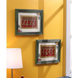 Green Dhokra Wall Hanging Set
