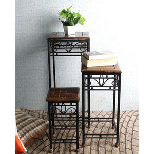 Mango Wood and Wrought Iron Nesting Tables Set of Three