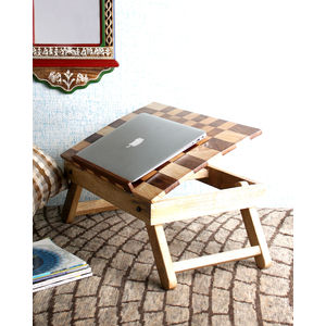 Hand Made Chess Design Foldable Wooden Laptop Table