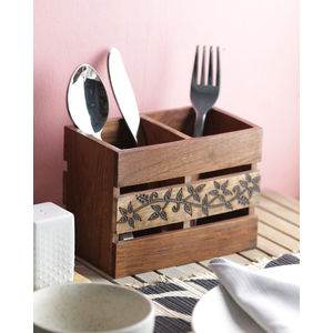 Flowery Vine Wooden Cutlery Holder