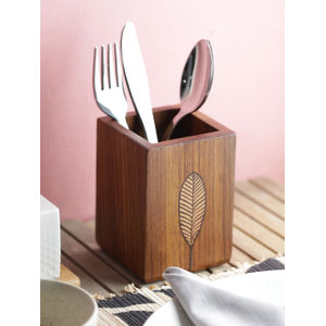 Ethnic Wooden Leaf Cutlery Holder