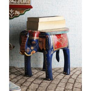 Hand Painted Jaipuri 12 Inch Elephant Stool