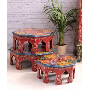 Hand Crafted Rajasthani Chowki Set of Three