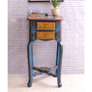 Hand Made Rajasthani Two Drawer End Table