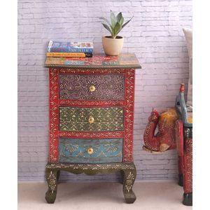 Multicolored Rajasthani Three Drawer End Table