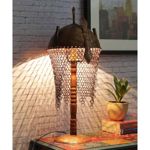 Hand Painted Copper Warrior Lamp