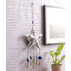 Alluring Silver Star Bell Decorative