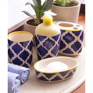 Blue Ceramic 4 Piece Bathroom Accessories Set
