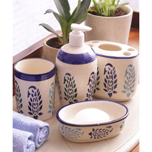 Blue Paisley Ceramic 4 piece Bathroom Accessories Set