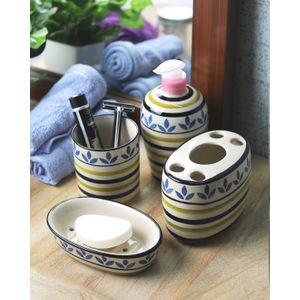 Ceramic Blue Leaf 4 piece Bathroom Accessories Set