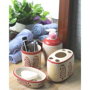 Red Paisley Ceramic 4 piece Bathroom Accessories Set