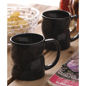 Black Ceramic Milk Mugs & Glasses Set of Two