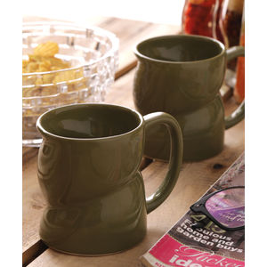 Green Ceramic Milk Mugs & Glasses Set of Two