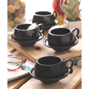 Ceramic Black Cups with Saucers Set