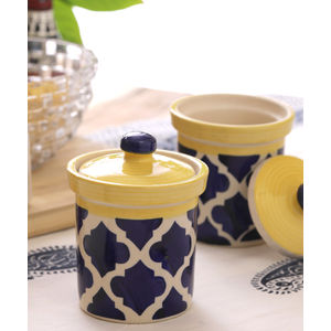 Moroccan Blue Ceramic 4 Inch Jars Set of Two