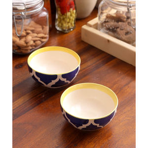 Ceramic Blue Yellow Serving Bowls Set of Four