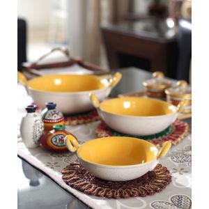 Yellow Marble Ceramic Kadhai Serving Dishes Set of Three