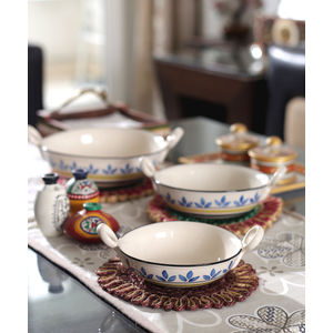 Blue Leaf Kadhai Ceramic Serving Bowls Set of Three