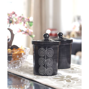 Black Ceramic Jars Set of Two