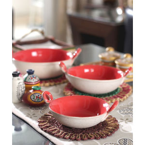 Marble Red Ceramic Kadhai Serving Dishes Set of Three