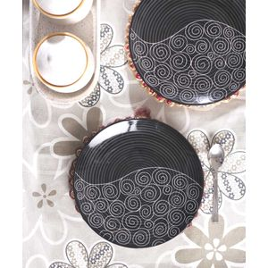 Hand Crafted Black Ceramic Quarter Plates Set of Six