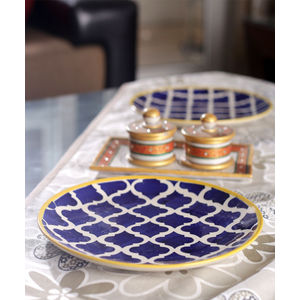 Moroccon Blue Ceramic Full Plates Set of Six