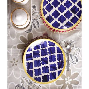 Moroccon Blue Ceramic Quarter Plates Set of Six