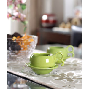 Green Ceramic Cups with Saucers Set of Six