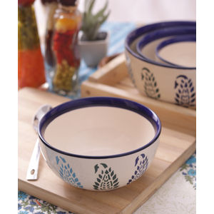 Ceramic Blue Paisley Serving Bowls Set of Four
