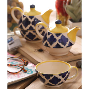 Handcrafted Blue Ceramic Cup with Kettle Set