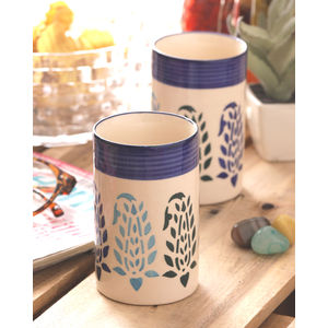 Blue Paisley Ceramic Glasses Set of Four