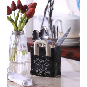 Black Spiral Ceramic Large Cutlery Holder