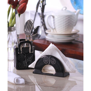 Hand Crafted Ceramic Black Spiral Cutlery Holder Set