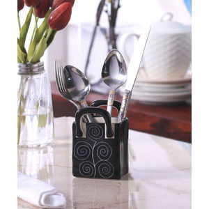 Ceramic Black Spiral Small Cutlery Holder