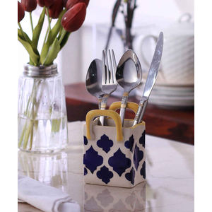 Hand Made Blue Ceramic Small Cutlery Holder