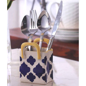 Blue Mughal Ceramic Large Cutlery Holder